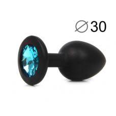 Силиконовая втулка черная,цвет кристала голубой 7,2см Х 3см
