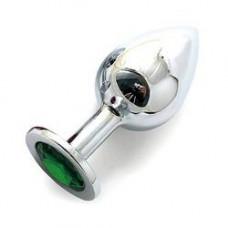SILVER PLUG LARGE (втулка анальная) цвет кристалла зелёный, L 95 мм, D 40 мм