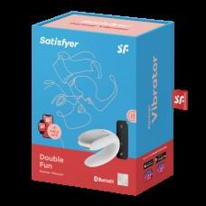 Парный вибратор Satisfyer Double Fun с возможностью управления через пульт и приложение (белый)